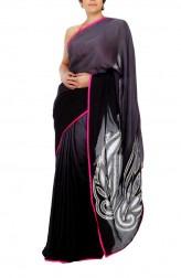 Indian Fashion Designers - Mandira Bedi - Contemporary Indian Designer - Shaded Grey and Black Saree - MBI-AW15-CWSHD-002