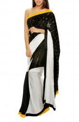 Indian Fashion Designers - Mandira Bedi - Contemporary Indian Designer - Black and White Silk Saree - MBI-AW16-CBEMB-002