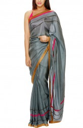 Indian Fashion Designers - Mandira Bedi - Contemporary Indian Designer - Grey Silk Embroidered Saree - MBI-AW16-FBEMB-010