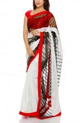 Indian Fashion Designers - Mandira Bedi - Contemporary Indian Designer - White Silk Saree with Sequins - MBI-AW16-HHBDR-004