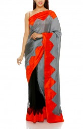 Indian Fashion Designers - Mandira Bedi - Contemporary Indian Designer - Black Chevron Motif Saree - MBI-AW16-HHPW-001