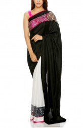 Indian Fashion Designers - Mandira Bedi - Contemporary Indian Designer - Black White Half Half Saree - MBI-AW16-HHSTNET-001