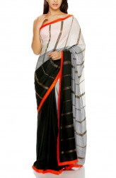Indian Fashion Designers - Mandira Bedi - Contemporary Indian Designer - Black and Grey Saree - MBI-AW16-HHSTP-004
