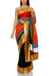 Indian Fashion Designers - Mandira Bedi - Contemporary Indian Designer - Black and Orange Geometric Saree - MBI-AW16-HHUSTP-011