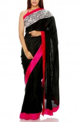 Indian Fashion Designers - Mandira Bedi - Contemporary Indian Designer - Black Saree with Pink Border - MBI-AW16-OSWEMB-002
