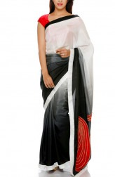 Indian Fashion Designers - Mandira Bedi - Contemporary Indian Designer - White to Black Shaded Saree - MBI-AW16-PWSHD-021