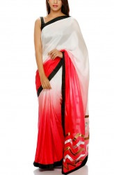 Indian Fashion Designers - Mandira Bedi - Contemporary Indian Designer - Chevron Motif Pallu Saree - MBI-AW16-PWSHD-022