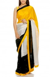 Indian Fashion Designers - Mandira Bedi - Contemporary Indian Designer - Hand Embroidered Yellow and Black Saree - MBI-AW16-TRLEMB-001