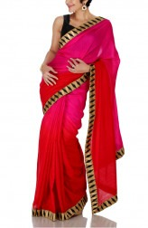 Indian Fashion Designers - Mandira Bedi - Contemporary Indian Designer - Pink and Red Shaded Saree - MBI-SS16-FBSHD-007