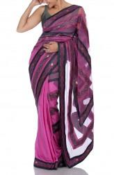 Indian Fashion Designers - Mandira Bedi - Contemporary Indian Designer - Pink Saree with Ikat - MBI-SS16-HHUSTP-010