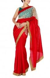 Indian Fashion Designers - Mandira Bedi - Contemporary Indian Designer - Red Silk Geometric Pattern Saree - MBI-SS16-OSWNET-004