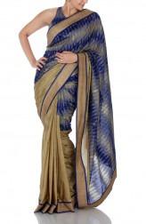 Indian Fashion Designers - Mandira Bedi - Contemporary Indian Designer - Beige Silk and Ikat Handloom Saree - MBI-SS16-TRIKT-002