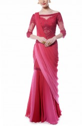 Indian Fashion Designers - Mandira Wirk - Contemporary Indian Designer - Deep Red and Pink Drape Saree - MW-AW16-FF-MW-002