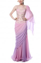 Indian Fashion Designers - Mandira Wirk - Contemporary Indian Designer - Lilac and Pink Drape Saree - MW-AW16-FF-MW-003