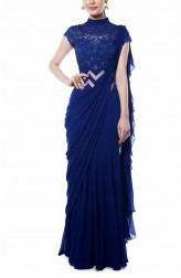 Indian Fashion Designers - Mandira Wirk - Contemporary Indian Designer - Indigo Blue Drape Saree - MW-AW16-FF-MW-004