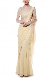 Indian Fashion Designers - Mandira Wirk - Contemporary Indian Designer - Light Yellow Drape Saree - MW-AW16-FF-MW-010