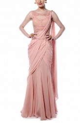 Indian Fashion Designers - Mandira Wirk - Contemporary Indian Designer - Light Pink Drape Saree - MW-AW16-FF-MW-011