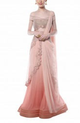 Indian Fashion Designers - Mandira Wirk - Contemporary Indian Designer - Pink Ombre Drape Saree - MW-AW16-FF-MW-012