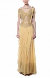 Indian Fashion Designers - Mandira Wirk - Contemporary Indian Designer - Lovely Light Yellow Saree - MW-AW16-FF-MW-014