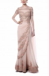 Indian Fashion Designers - Mandira Wirk - Contemporary Indian Designer - Enchanting Light Pink Saree - MW-AW16-FF-MW-015