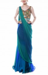 Indian Fashion Designers - Mandira Wirk - Contemporary Indian Designer - Teal Green and Blue Drape Saree - MW-AW16-FF-MW-016