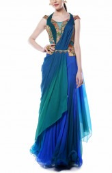 Indian Fashion Designers - Mandira Wirk - Contemporary Indian Designer - Distinct Drape Saree - MW-AW16-FF-MW-018
