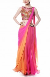 Indian Fashion Designers - Mandira Wirk - Contemporary Indian Designer - Coral and Pink Drape Saree - MW-AW16-FF-MW-019