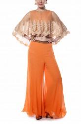 Indian Fashion Designers - Mandira Wirk - Contemporary Indian Designer - Orange Cape and Sharara Set - MW-AW16-FF-MW-034