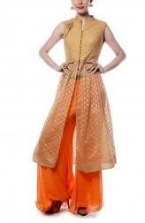 Indian Fashion Designers - Mandira Wirk - Contemporary Indian Designer - Beige and Orange Sharara Set - MW-AW16-FF-MW-035