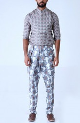 Indian Fashion Designers - Mr. Ajay Kumar - Contemporary Indian Designer - Kaleido Lotus Printed Trouser - MAK-SS17-AKT001