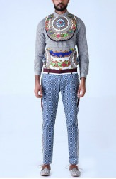 Indian Fashion Designers - Mr. Ajay Kumar - Contemporary Indian Designer - Persian Jali Print Trouser - MAK-SS17-AKT002