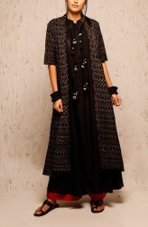 Indian Fashion Designers - Myoho - Contemporary Indian Designer - Black Ria Dress Set - MYO-SS17-1172B