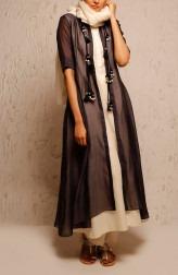 Indian Fashion Designers - Myoho - Contemporary Indian Designer - Grey Ria Dress Set - MYO-SS17-1172D