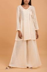 Indian Fashion Designers - Nausheen Osmany - Contemporary Indian Designer - Sugar Cookie Tie Up Kurta Set - MAU-SS17-M003-M021