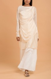 Indian Fashion Designers - Nausheen Osmany - Contemporary Indian Designer - Ivory Silk Layered Tunic - MAU-SS17-M005
