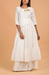 Indian Fashion Designers - Nausheen Osmany - Contemporary Indian Designer - Daisy Three Tiered Kurta - MAU-SS17-M007