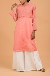 Indian Fashion Designers - Nausheen Osmany - Contemporary Indian Designer - Salmon Kurta with Jacket - MAU-SS17-M008