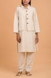 Indian Fashion Designers - Nausheen Osmany - Contemporary Indian Designer -  Linen Mid Length Kurta with Jacket Set - MAU-SS17-M011-M024