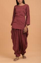 Indian Fashion Designers - Nausheen Osmany - Contemporary Indian Designer - Garnet Elegant Top Set - MAU-SS17-M012-M023