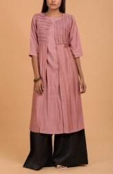 Indian Fashion Designers - Nausheen Osmany - Contemporary Indian Designer - Rouge Long Kurta with Ruffled Jacket - MAU-SS17-M013