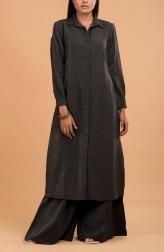 Indian Fashion Designers - Nausheen Osmany - Contemporary Indian Designer - Charcoal Long Shirt Dress - MAU-SS17-M014