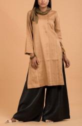 Indian Fashion Designers - Nausheen Osmany - Contemporary Indian Designer - Sepia Classic Silk Kurta Set - MAU-SS17-M015-M019