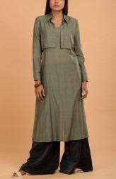 Indian Fashion Designers - Nausheen Osmany - Contemporary Indian Designer - Olivine Long Pleated Kurta with Shrug - MAU-SS17-M016