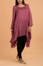 Indian Fashion Designers - Nausheen Osmany - Contemporary Indian Designer - Rosewood Cowl Hem Tunic - MAU-SS17-M017