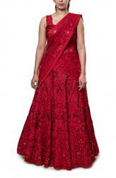 Indian Fashion Designers - Neha Gursahani - Contemporary Indian Designer - Red and Maroon Embroidered Lehenga - NG-AW16-MA-01