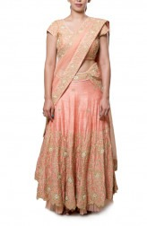 Indian Fashion Designers - Neha Gursahani - Contemporary Indian Designer - Peach and Gold Embroidered Lehenga - NG-AW16-MA-02