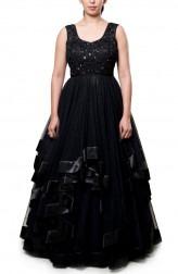 Indian Fashion Designers - Neha Gursahani - Contemporary Indian Designer - Black Asymmetrical Gown - NG-AW16-MA-05
