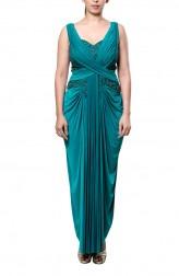 Indian Fashion Designers - Neha Gursahani - Contemporary Indian Designer - Green Draped Saree Gown - NG-AW16-MA-08