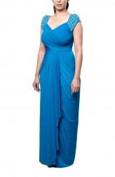 Indian Fashion Designers - Neha Gursahani - Contemporary Indian Designer - Teal Blue Draped Gown - NG-AW16-MA-09