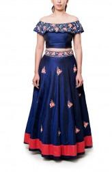 Indian Fashion Designers - Neha Gursahani - Contemporary Indian Designer - Navy Blue Embroidered Lehenga - NG-AW16-MA-11